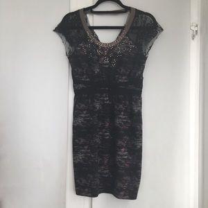 Free People black, gray & dark pink dress. Small